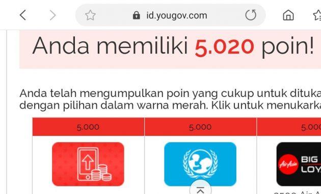 penukaran poin yougov 630x380 Cara Dapat Pulsa Gratis Rp.200.000 dari YouGov